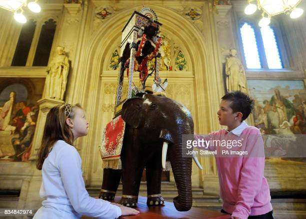Caitlin Docherty and her brother Connor study a 1/3 scale model of the Elephant Clock which was invented by Muslim engineer AlJazari more than 800...