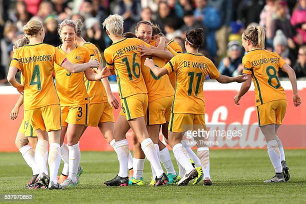 Caitlin Foord of Australia celebrates a goal with team mates during the women's international friendly match between the Australian Matildas and the...