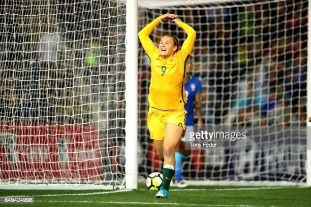 Caitlin Foord of the Matildas celebrates a goal during the Women's International match between the Australian Matildas and Brazil at McDonald Jones...