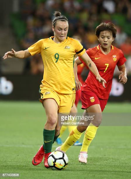 Caitlin Foord of the Matildas is chased by Wang Shuang of China PR during the Women's International match between the Australian Matildas and China...
