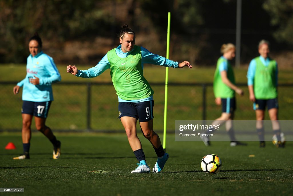 Caitlin Foord of the Matildas passes during a Matildas training session on September 14, 2017 in Sydney, Australia.