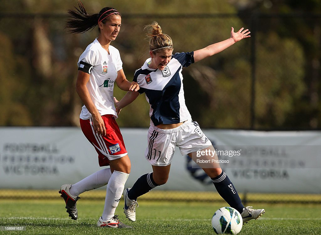 Caitlin Friend of the Victory controls the ball during the round 11 W-League match between the Melbourne Victory and Adelaide United at Wembley Park on January 5, 2013 in Melbourne, Australia.