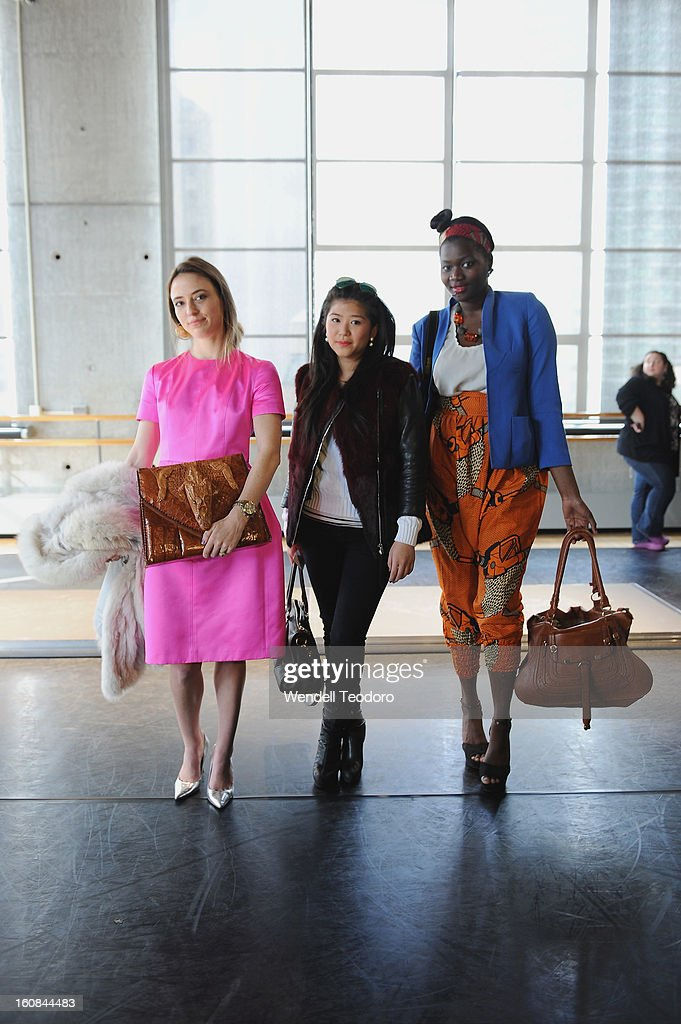 Caitlin Hicks, Kiki Dhitavat and Diarra Gueye attend the Rita Vinieris Debut Eveningwear Collection presentation during Fall 2013 Mercedes-Benz Fashion Week at the Baryshnikov Arts Center on February 6, 2013 in New York City.