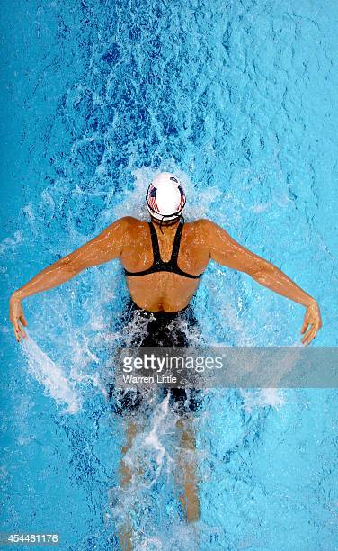 Caitlin Leverenz of the USA competes in the Women's 200m Butterfly heats during day two of the FINA Swimming World Cup at Hamdan Sports Complex on...