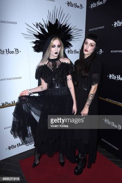 Caitlin Marks and Chantelle Sawyer attend the Kat Von D Beauty Fragrance Launch Press Party #SAINTANDSINNER at Hollywood Roosevelt Hotel on June 20...