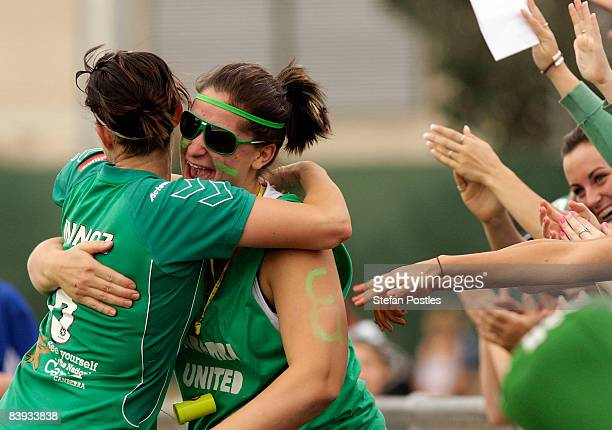 Caitlin Munoz of Canberra United celebrates with a fan after scoring a goal during the round seven WLeague match between Canberra United and Sydney...