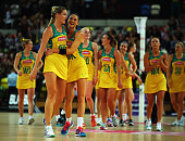 Caitlin Thwaites and Sharni Layton of Australia celebrate after winning the third match and also the International Netball Series between England and...