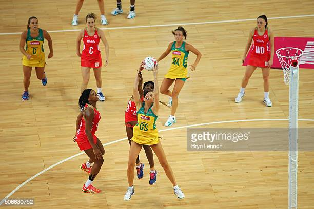 Caitlin Thwaites of Australia battles with Ama Agbeze of England during the third International Netball Series match between England and Australia at...