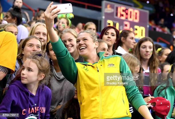Caitlin Thwaites of Australia gets a selfie with fans after the 2017 Netball Quad Series match between the Australian Diamonds and the England Roses...