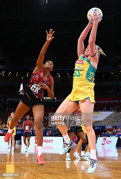 Caitlin Thwaites of the Diamonds catches the ball during the 2015 Netball World Cup match between Australia and Trinidad Tobago at Allphones Arena on...
