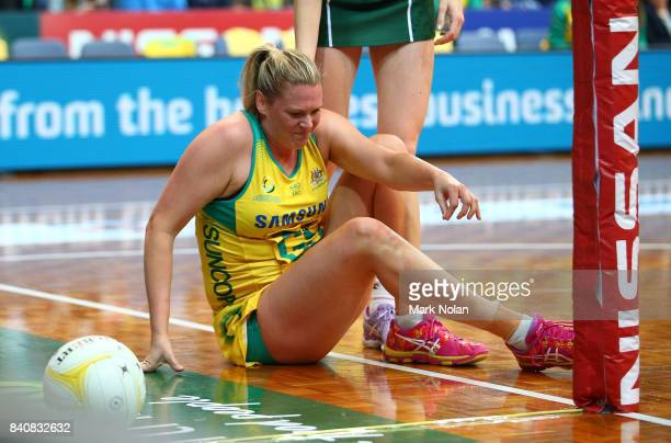 Caitlin Thwaites of the Diamonds falls during the 2017 Netball Quad Series between the Australia Diamonds and the South Africa Proteas at AIS on...
