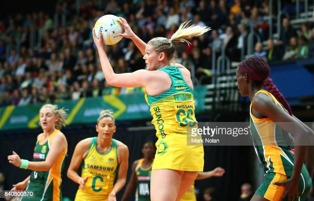 Caitlin Thwaites of the Diamonds in action during the 2017 Netball Quad Series between the Australia Diamonds and the South Africa Proteas at AIS on...