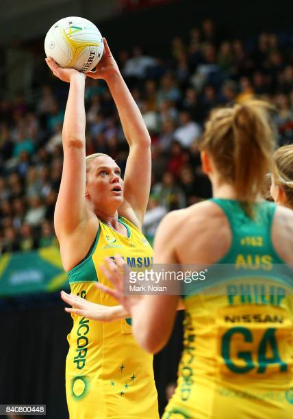 Caitlin Thwaites of the Diamonds shoots for goal during the 2017 Netball Quad Series between the Australia Diamonds and the South Africa Proteas at...
