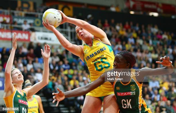 Caitlin Thwaites of the Diamonds wins possession during the 2017 Netball Quad Series between the Australia Diamonds and the South Africa Proteas at...