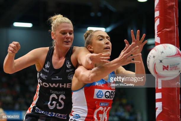 Caitlin Thwaites of the Magpies and Sarah Klau of the Swifts compete for the ball during the round six Super Netball match between the Swifts and the...