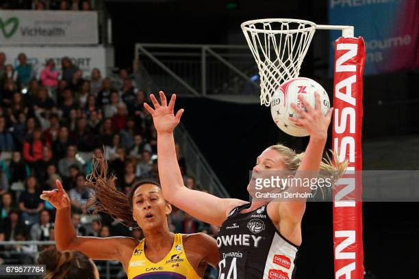 Caitlin Thwaites of the Magpies catches the ball during the round 11 Super Netball match between the Magpies and the Lightning at Hisense Arena on...