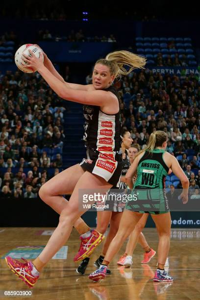 Caitlin Thwaites of the Magpies catches the ball during the round 13 Super Netball match between the Fever and the Magpies at Perth Arena on May 20...
