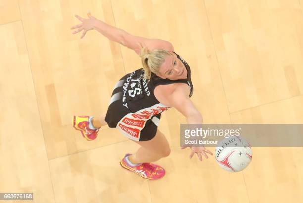 Caitlin Thwaites of the Magpies competes for the ball during the round seven Super Netball match between the Magpies and the Vixens at Hisense Arena...