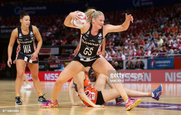 Caitlin Thwaites of the Magpies controls the ball during the round nine Super Netball match between the Giants and the Magpies at Qudos Bank Arena on...