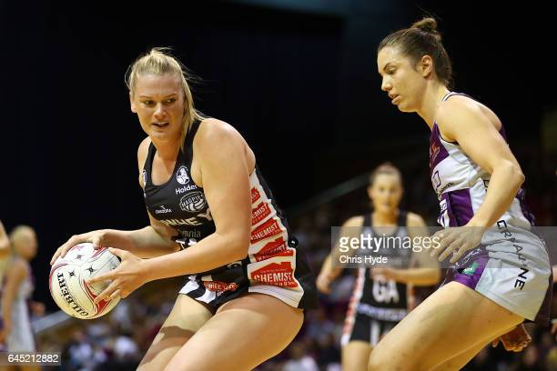 Caitlin Thwaites of the Magpies in action during the round two Super Netball match between the Queensland Firebirds and the Collingwood Magpies at...