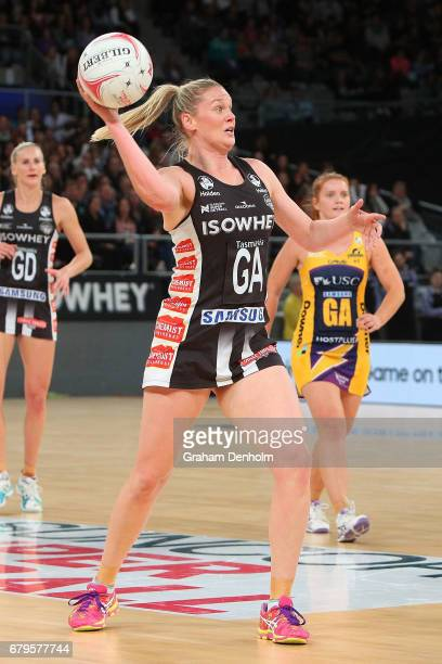 Caitlin Thwaites of the Magpies passes during the round 11 Super Netball match between the Magpies and the Lightning at Hisense Arena on May 6 2017...