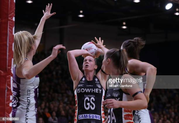 Caitlin Thwaites of the Magpies shoots during the round 10 Super Netball match between the Magpies and the Firebirds at the Silverdome on April 30...