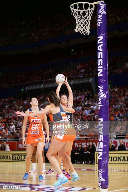 Caitlin Thwaites of the Magpies shoots during the round nine Super Netball match between the Giants and the Magpies at Qudos Bank Arena on April 23...