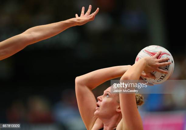 Caitlin Thwaites of the Magpies shoots for goal during the round six Super Netball match between the Swifts and the Magpies at Sydney Olympic Park...