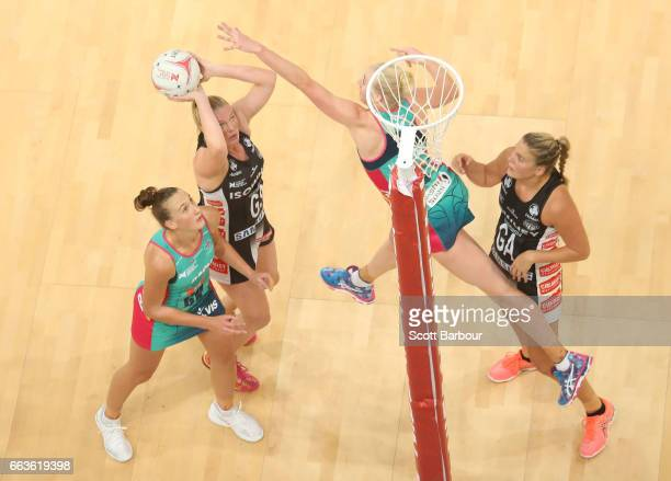 Caitlin Thwaites of the Magpies shoots the ball during the round seven Super Netball match between the Magpies and the Vixens at Hisense Arena on...