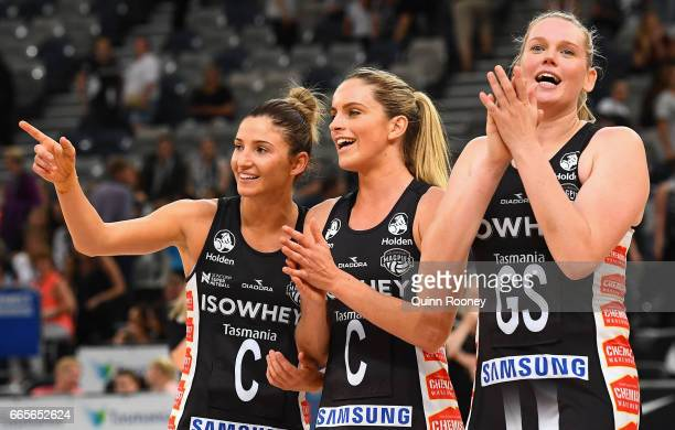 Caitlin Thwaites of the Magpies waves to the crowd as she celebrates winning the round eight Super Netball match between the Magpies and Fever at...