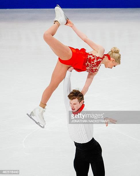 Caitlin Yankowskas and Hamish Gaman of Great Britain pair perform their short program routine during the ISU European Figure Skating Championships on...