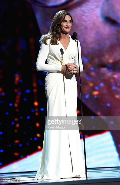 Caitlyn Jenner accepts the Arthur Ashe Courage Award and speaks onstage during The 2015 ESPYS at Microsoft Theater on July 15 2015 in Los Angeles...