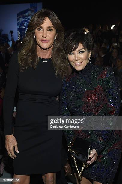 Caitlyn Jenner and Kris Jenner attend the 2015 Victoria's Secret Fashion Show at Lexington Avenue Armory on November 10 2015 in New York City