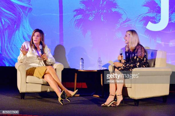 Caitlyn Jenner and Sarah Adolphson speak on stage at WORLDZ Cultural Marketing Summit at Hollywood and Highland on August 1 2017 in Los Angeles...