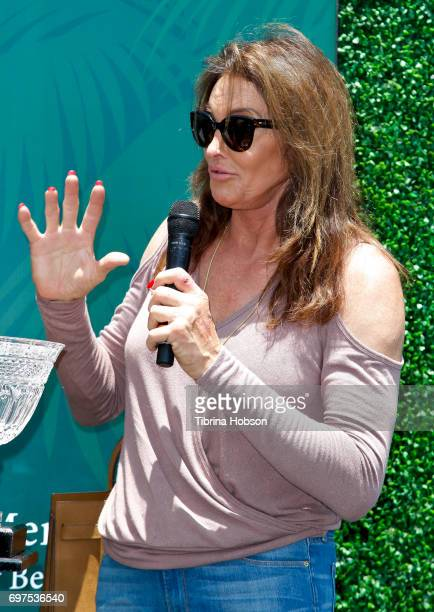 Caitlyn Jenner displays her AustinHealey Sprite and wins an award for 'most fashionable' car at The Rodeo Drive Concours d'Elegance on June 18 2017...