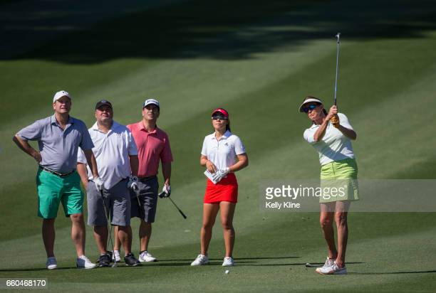 Caitlyn Jenner hits from the fairway of the 9th during with LPGA player Danielle Kang and the rest of their ProAm group during the ANA Inspiration...
