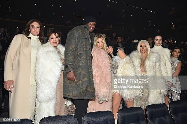 Caitlyn Jenner Kris Jenner Lamar Odom Khloe Kardashian Kylie Jenner Kim Kardashian Kendall Jenner and Kourtney Kardashian attend Kanye West Yeezy...