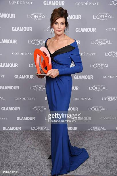 Caitlyn Jenner poses backstage with her award at the 2015 Glamour Women Of The Year Awards at Carnegie Hall on November 9 2015 in New York City