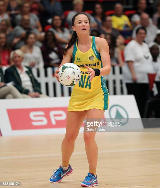 Caitlyn Nevins during the Netball Quad Series match between South African Proteas and Australian Diamonds at Durban ICC on January 31 2017 in Durban...