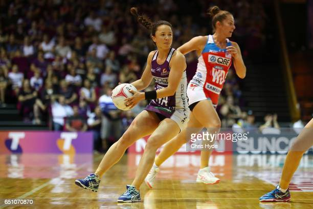 Caitlyn Nevins of the Firebirds in action during the round four Super Netball match between the Firebirds and the Swifts at Brisbane Convention...