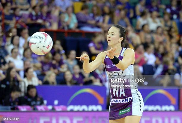 Caitlyn Nevins of the Firebirds passes the ball during the round five Super Netball match between the Firebirds and the Vixens at Brisbane...