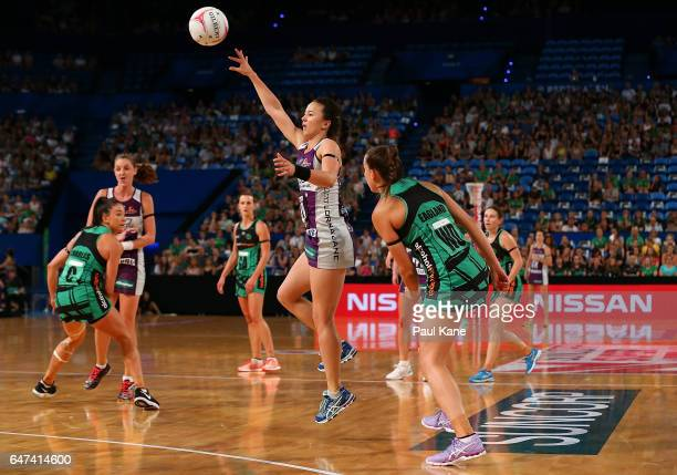 Caitlyn Nevins of the Firebirds passes the ball during the round three Super Netball match between the Fever and the Firebirds at Perth Arena on...