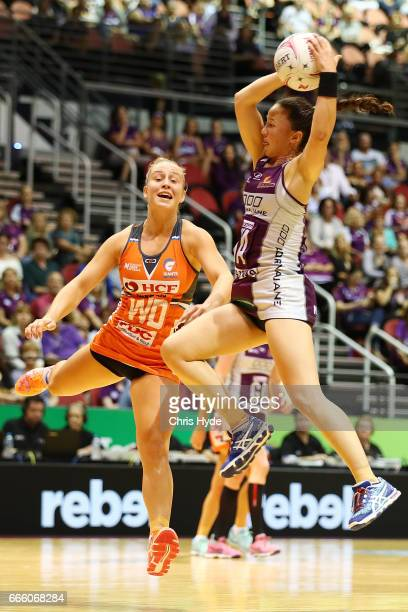 Caitlyn Nevins of the Firebirds takes a catch during the round eight Super Netball match between the Firebirds and the Giants at Gold Coast...
