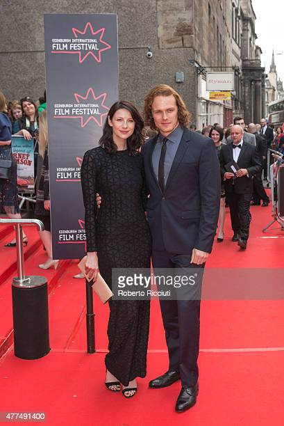 Caitriona Balfe and Sam Heughan attend the Opening Night Gala and World Premiere of 'The Legend of Barney Thomson' during the Edinburgh International...
