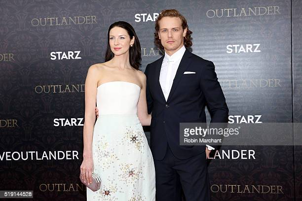 Caitriona Balfe and Sam Heughan attend the 'Outlander' Season Two World Premiere at American Museum of Natural History on April 4 2016 in New York...