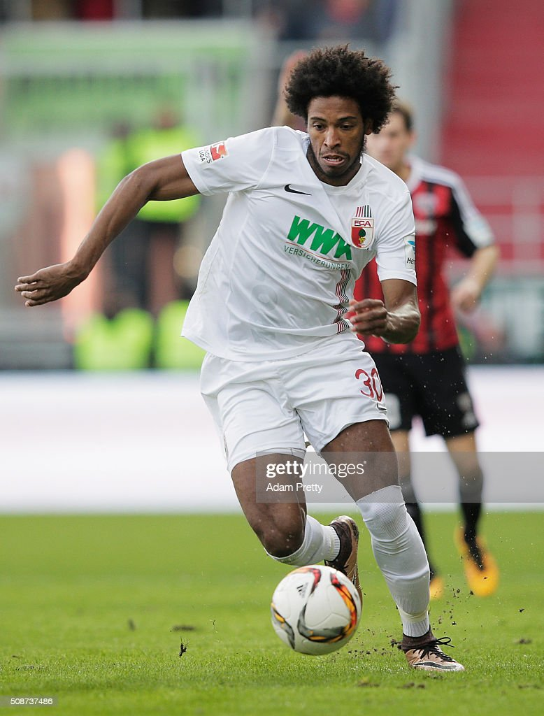 Caiuby of Augsburg in action during the Bundesliga match between FC Ingolstadt and FC Augsburg at Audi Sportpark on February 6, 2016 in Ingolstadt, Germany.