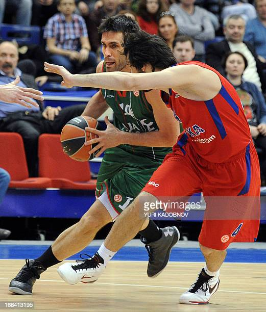 Caja Laboral's guard Fernando San Emeterio vies with CSKA Moscow's guard Milos Teodosic during their Euroleague play off second game basketball match...