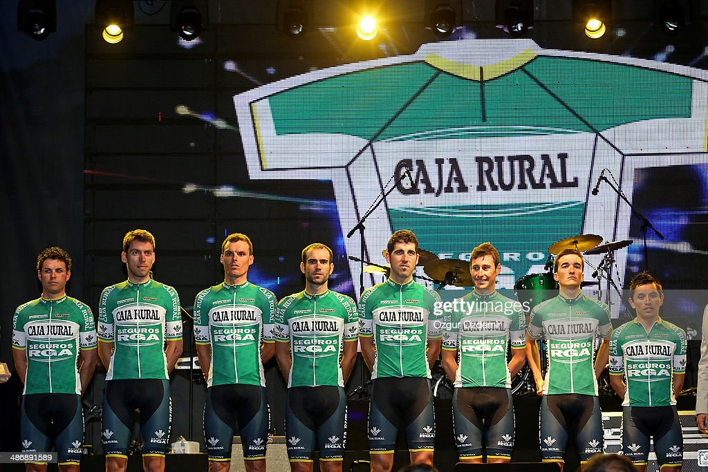 Caja Rural Seguros RGA attends the opening ceremony of the 50th Presidential Cycling Tour at Alanya in the Mediterranean resort city of Antalya on April 26, 2014 in Antalya, Turkey. The Presidential Cycling Tour of Turkey will be held between April 27 and May 4.