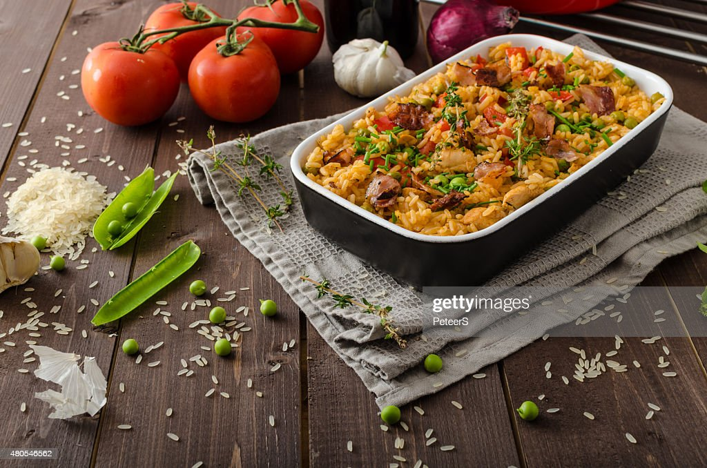 Cajun chicken with rice : Stock Photo