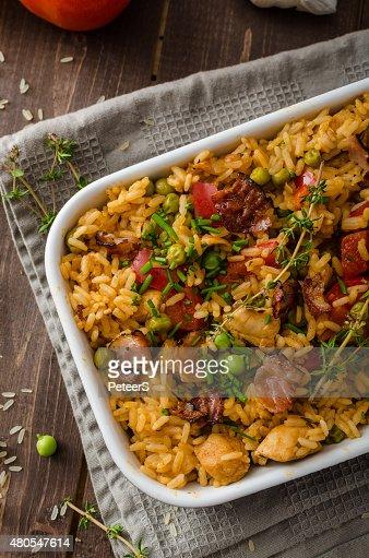 Cajun chicken with rice : Stock Photo